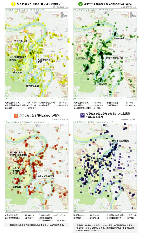 大橋周辺や仙台城跡にアイコンシールが集中 ~ 各アイコンシールの分布の傾向