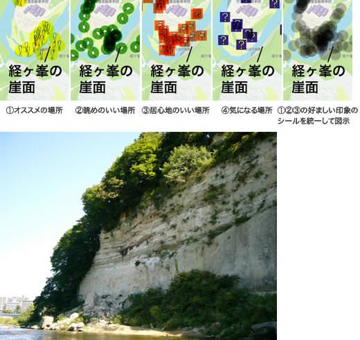 雄大な崖面が強い印象を与える「経ヶ峯の対岸」